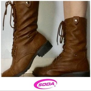 Soda Light Brown Lace Up Mid Calf Heeled Boots 10